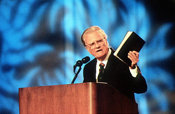 Billy Graham preaching w Bible