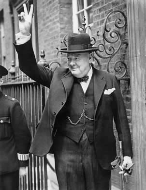 Churchill giving the V sign