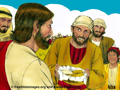 Jesus multiplies bread