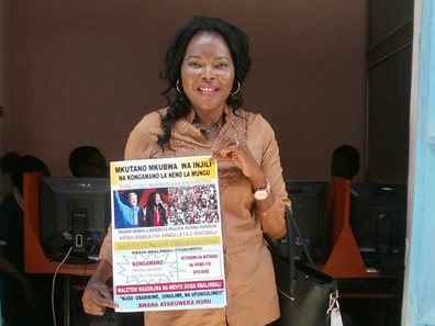 Benedicta with poster